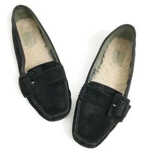 UGG sherpa lined black suede loafer flats M0254